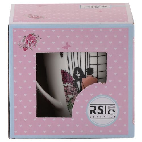 Rslee Coffee-Tea-Milk Mug - Women In Pink Gown Print, 275 ml
