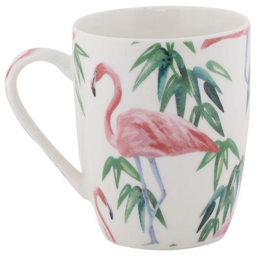 Rslee Coffee-Tea-Milk Mug - Pink Famingo & Green Leaves Print, 275 ml
