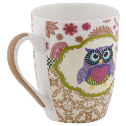 Rslee Coffee-Tea-Milk Mug - Owl, Polka Dot Print, 275 ml
