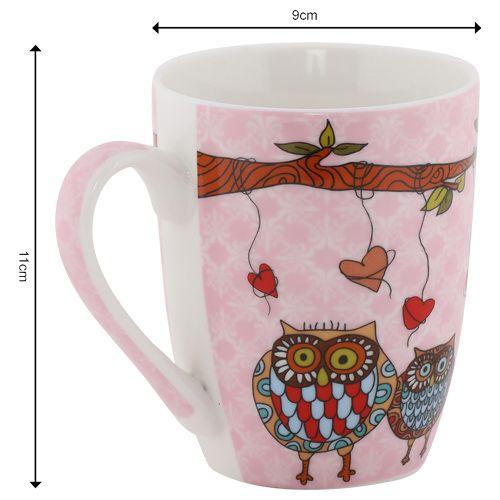 Rslee Coffee-Tea-Milk Mug - Owl, Pink Background Print, 275 ml