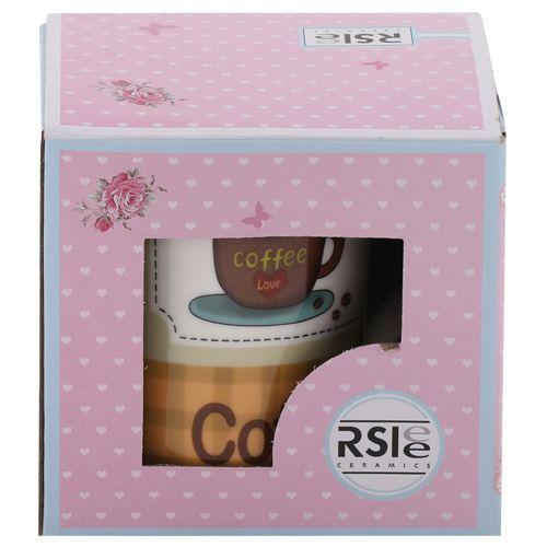 Rslee Coffee-Tea-Milk Mug - I Love Coffee, Brown Check Print, 350 ml