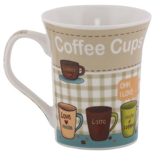 Rslee Coffee-Tea-Milk Mug - I Love Coffee, Brown Check Background, 350 ml
