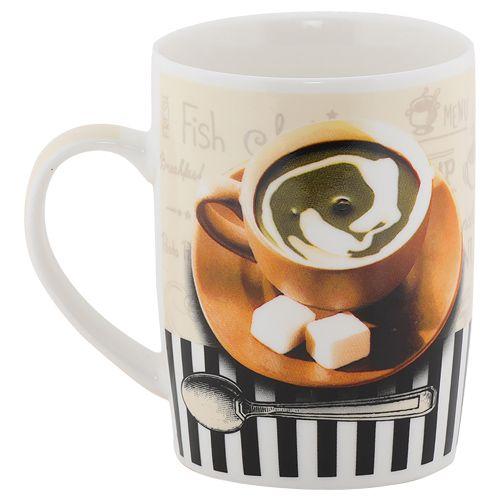 Rslee Coffee-Tea-Milk Mug - Coffee Mug & Spoon, Black & White Stripes, Print, 350 ml