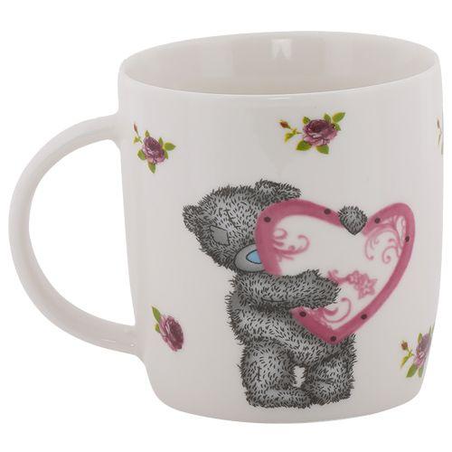 Rslee Coffee-Tea-Milk Mug - Teddy Bear with Pink Heart, Print, 300 ml