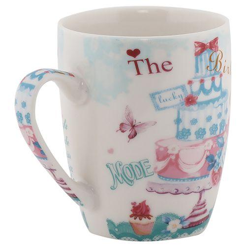 Rslee Coffee-Tea-Milk Mug - Pink & Blue Cake Print, 275 ml