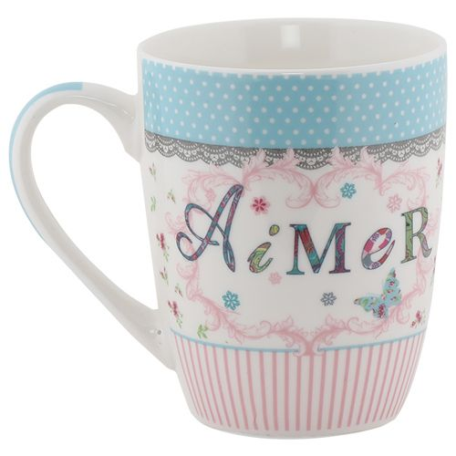 Rslee Coffee-Tea-Milk Mug - Aimer Pink & White Stripes, Print, 275 ml