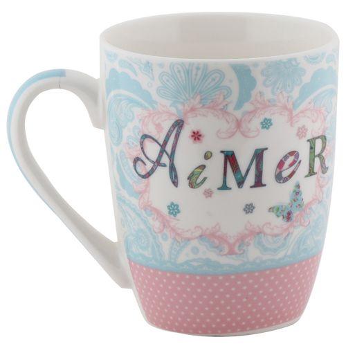 Rslee Coffee-Tea-Milk Mug - White & Blue Print, 275 ml
