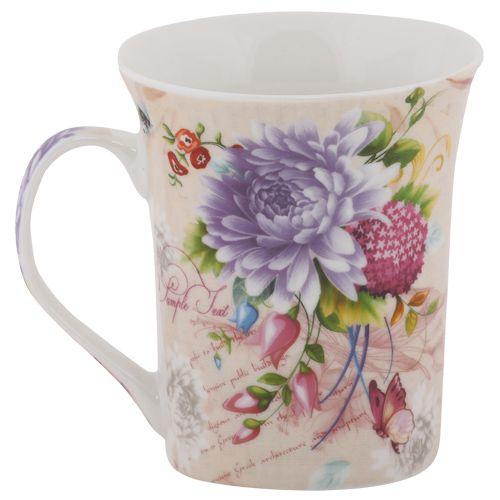 Rslee Coffee-Tea-Milk Mug - Grey Flower Print, 350 ml