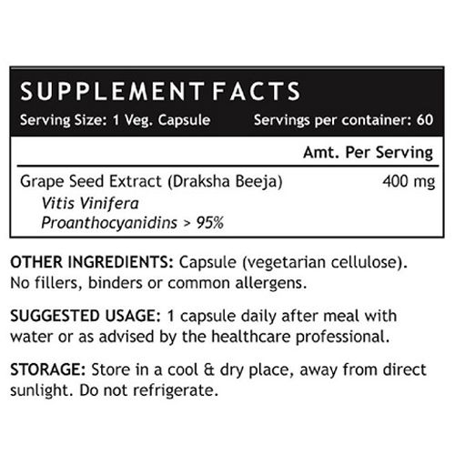 Inlife Supplement - Grape Seed Extract, Antioxidant, Veg, 60 Capsules