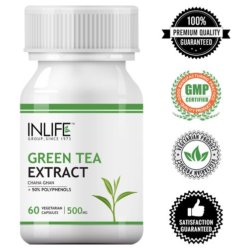 Inlife Supplement - Green Tea Extract, Fat Burner, With 50% Polyphenols, Veg, 60 Capsules