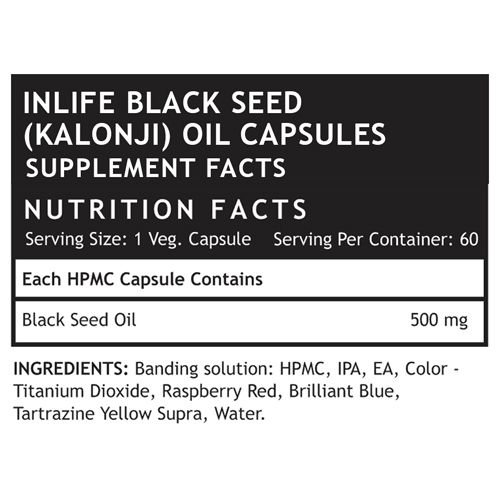 Inlife Supplement - Black Seed Oil, Extra Virgin, Cold Pressed, Liquid Filled, 60 Capsules