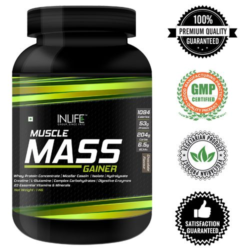 Inlife Supplement - Muscle Mass Gainer, Bodybuilding, Chocolate Flavour, 2 lb