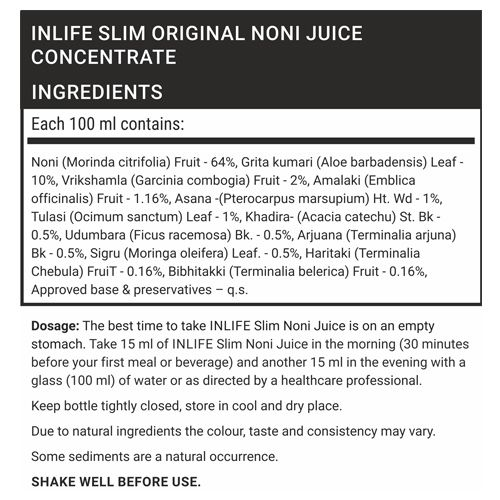Inlife Supplement - Noni Juice Concentrate, Slim, 1 lt
