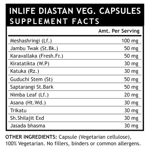 Inlife Supplement - Diastan, Diabetic Care, 60 Capsules