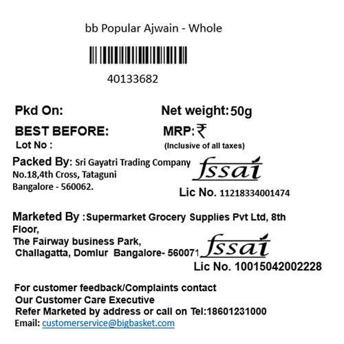 BB Popular Ajwain/Om Kalu Whole, 50 g
