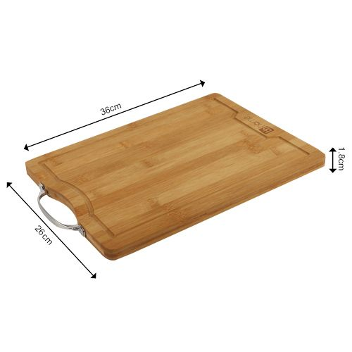 BB Home Chopping-Cutting Board - Bamboo Wood, Steel Handle, BH 042, 1 pc