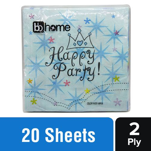 BB Home Paper Napkins - Happy Party, Blue, 20 pulls