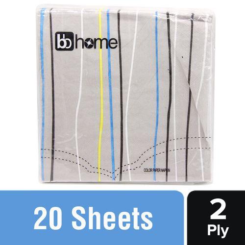 BB Home Printed Party Napkins - Stripes, Grey, 20 pcs