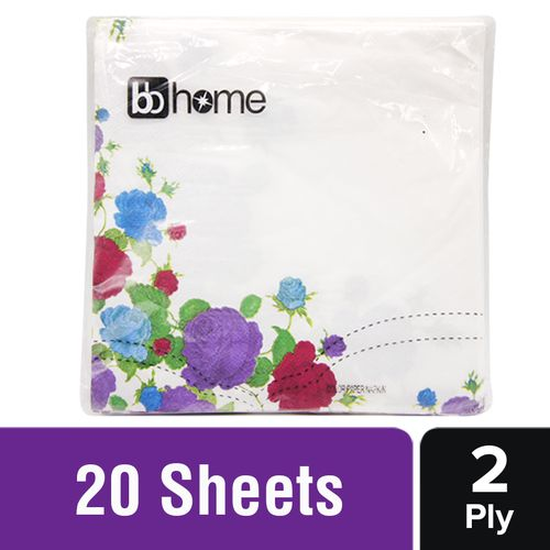 BB Home Paper Napkins - Floral Border, White, 20 Pulls