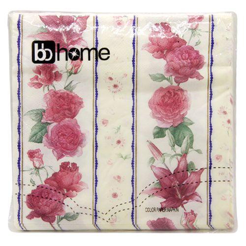 BB Home Paper Napkins - Floral Stripes, 20 Pulls