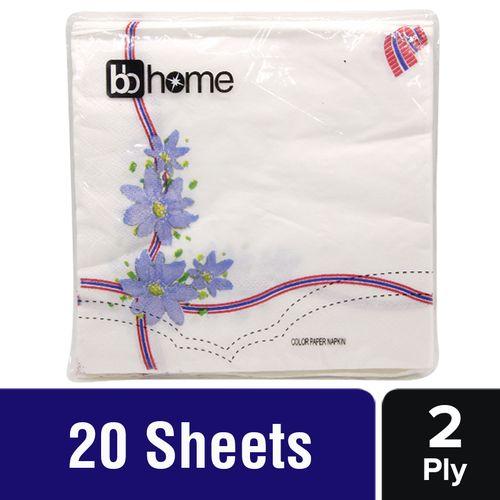 BB Home Paper Napkins - Blue Flower, 20 Pulls