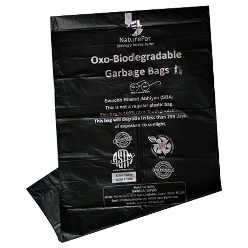 NaturePac Garbage Bag - Small, Black, Biodegradable, 30 pcs