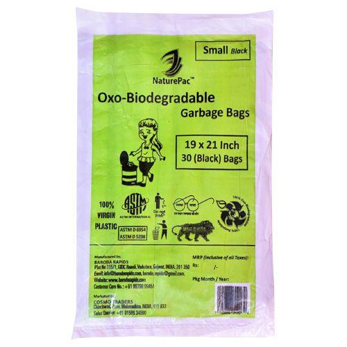NaturePac Garbage Bag - Small, Black, Biodegradable, 30 pcs