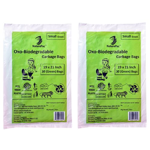NaturePac Garbage Bag - Small, Green, Biodegradable, 30 pcs Pack of 2