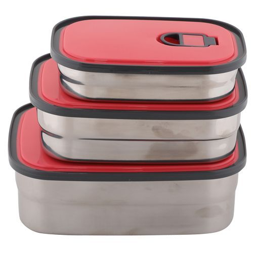 Homio Lunch Box-Tiffin Set - Stainless Steel,Red, Rectangular Red BB 571 3, 3 pcs