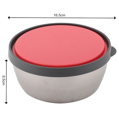 Homio Food Container-Tiffin Box - Stainless Steel, Pink, Circular PK BB 572 2, 3 Pcs.