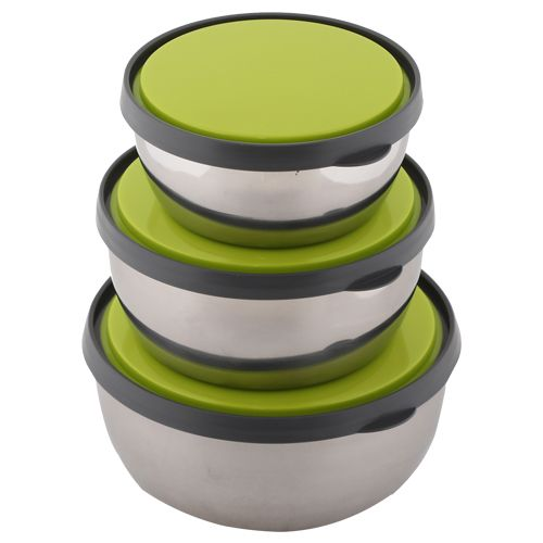 Homio Food Container-Tiffin Box - Stainless Steel, Green, Circular Gr BB 572 3, 3 Pcs.