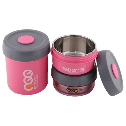 Tedemei Lunch Box-Tiffin Set - Stainless Steel, Pink - PK BB 578 2, 3 pcs