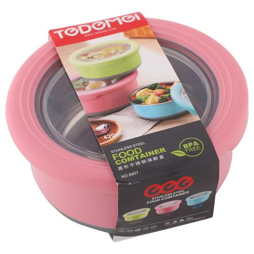 Tedemei Food Container-Tiffin Box - Stainless Steel, Pink - PK BB 581 1, 420 ml