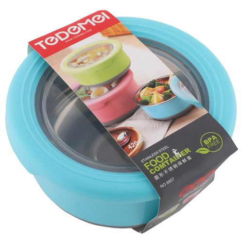 Tedemei Food Container-Tiffin Box - Stainless Steel, Blue - Blue BB 581 2, 420 ml