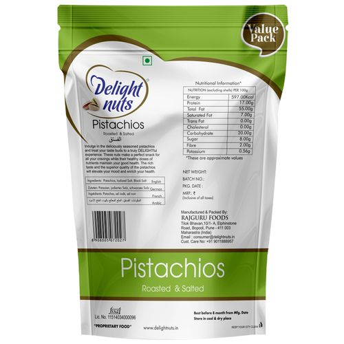 Delight Nuts Pistachios - Roasted & Salted, 750 g