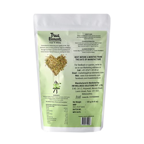 True Elements Sunflower, Pumpkin & Flaxseed - Roasted, Chilli Ginger, 125 g