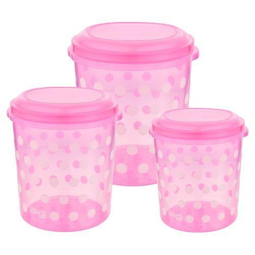 Big Plastic Storewell Plastic Storage container Polka Dots - Assorted, 3 pcs