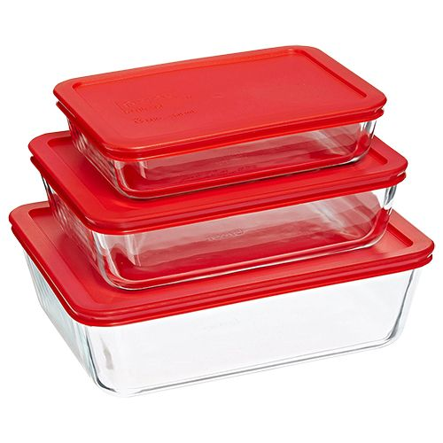 Pyrex Glass Bakeware Containers With Lid, 3 pcs