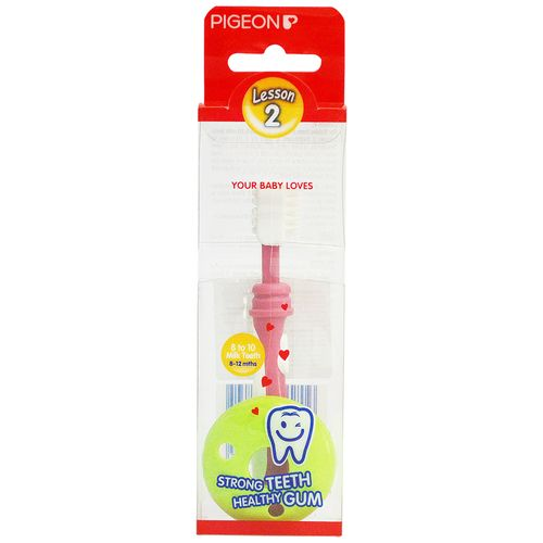 Pigeon Baby Training Toothbrush Lesson-2, Pink, 1 pc