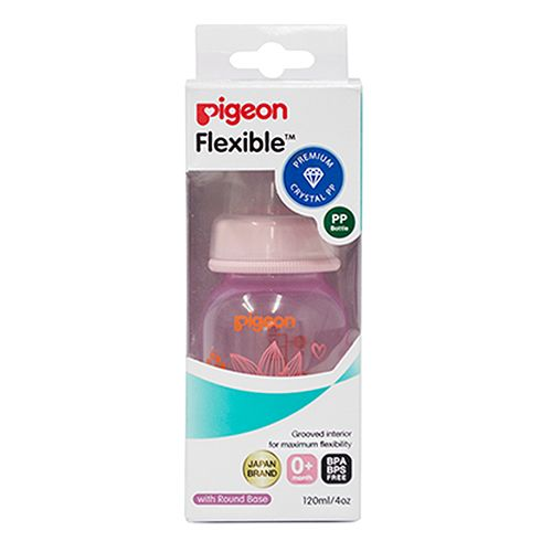 Pigeon Baby Peristaltic Clear Nursing Floral Bottle Rpp - Pink, 120 ml