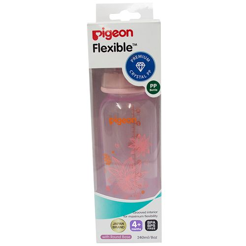 Pigeon Baby Peristaltic Clear Nursing Floral Bottle Rpp - Pink, 240 ml