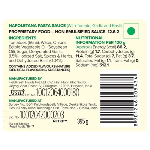 Del Monte Napoletana Pasta Sauce - Tomato With Garlic & Basil, 395 g