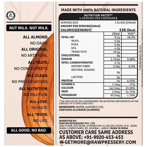 Raw Pressery Unsweetened Almond Milk - Lactose Free, Dairy Free, Vegan, 1 L