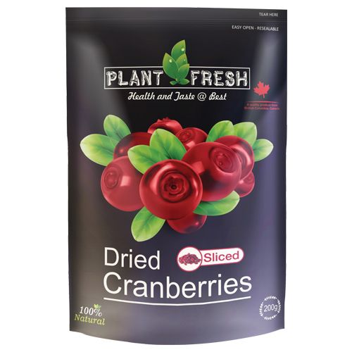 Plantfresh Dried Fruit - Sliced Cranberries, 200 g