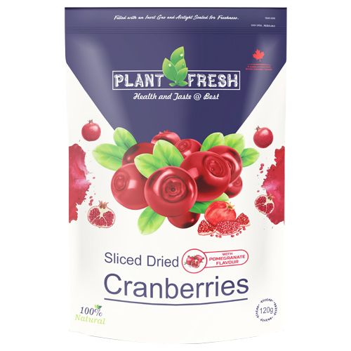 Plantfresh Dried Fruit - Sliced Cranberries, With Pomegranate Flavour, 120 g