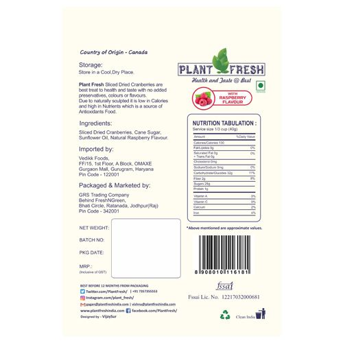 Plantfresh Dried Fruit - Sliced Cranberries, With Raspberry Flavour, 120 g