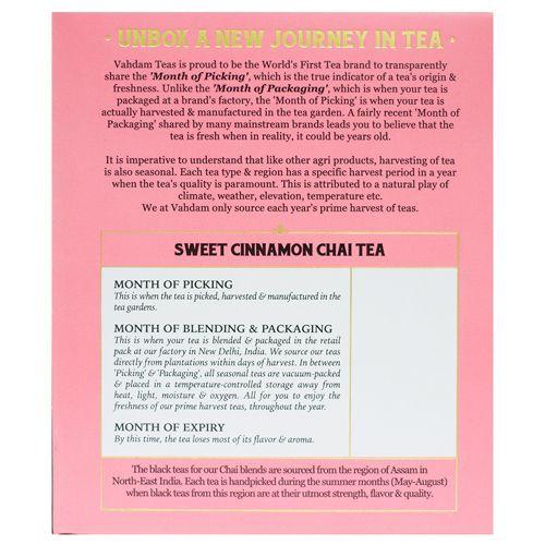 VAHDAM Sweet Cinnamon Masala Chai Tea Bags - Long Leaf Pyramid, 15 pcs