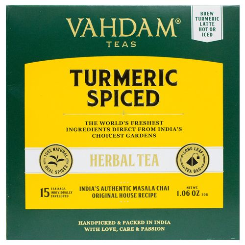 VAHDAM Turmeric Spiced Herbal Tea Bags - Tisane, Long Leaf Pyramid, 15 pcs