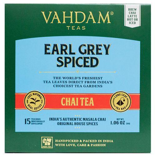 VAHDAM Earl Grey Masala Chai Tea Bags - Long Leaf Pyramid, 15 pcs
