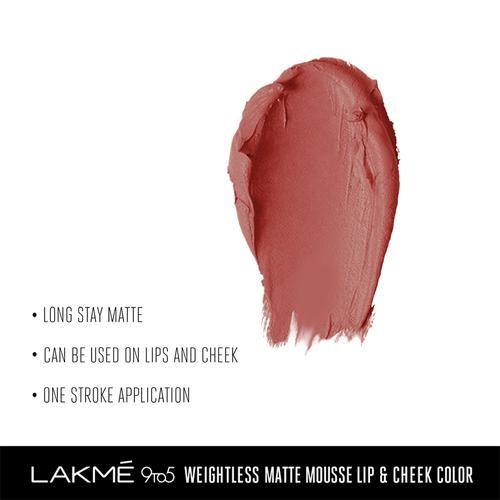 Lakme 9 To 5 Weightless Mousse Lip & Cheek Colour, 9 g Blush Velvet